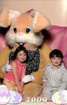 Morgan & Ryan - Janie's grandkids with a big headed scary Easter Bunny.